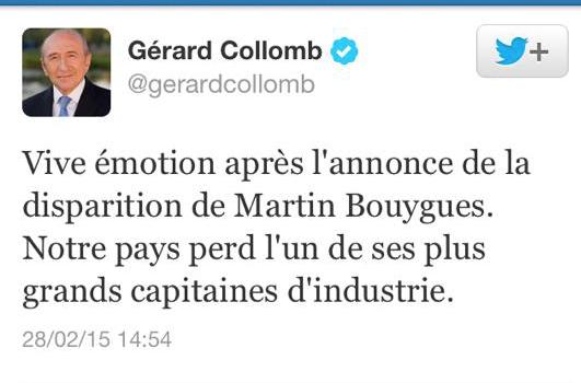 Gérard Collomb tombe dans le panneau de la fausse mort de Martin Bouygues