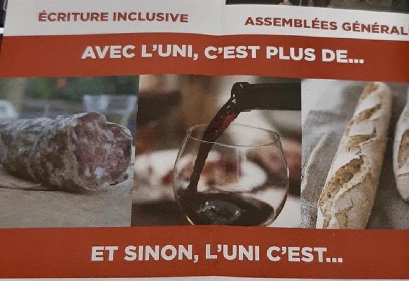Lyon : polémique après la distribution par un syndicat étudiant d'un tract vantant le saucisson et le vin