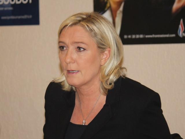 Marine Le Pen en déplacement à Eurexpo le 14 février