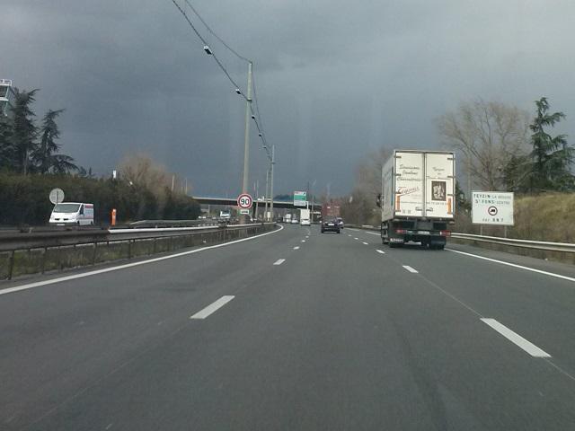 La vitesse maximale de l'A43 à Bron abaissée à 70km/h par le préfet