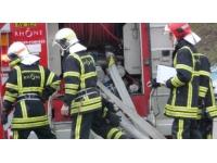 Important feu d'entrepôt à Dardilly