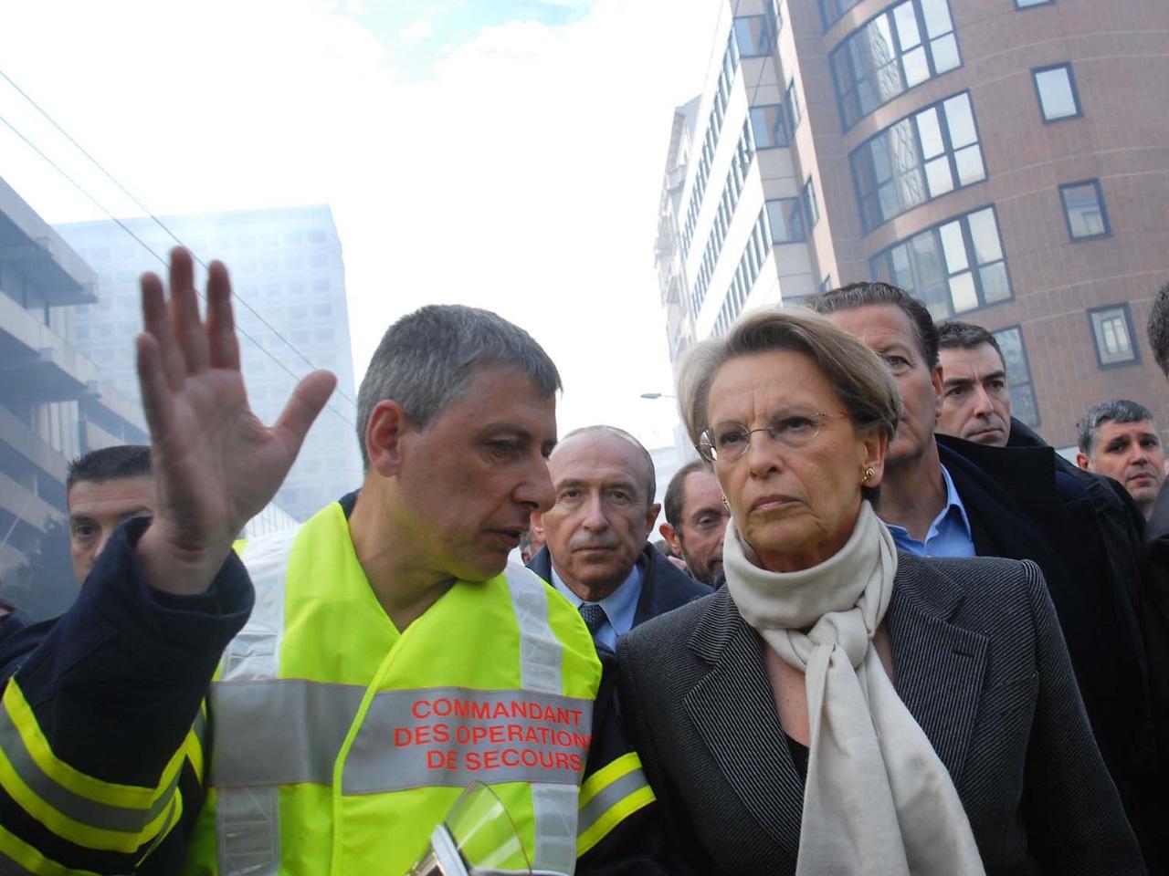 Michèle Alliot-Marie, ministre de l'Intérieur de l'époque, s'était rendue sur place avec Gérard Collomb et de Dominique Perben - Archives LyonMag