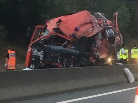 Photo du camion accidenté - DR