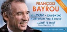 Le tract annonçant le meeting de François Bayrou à Lyon - Photo MoDem