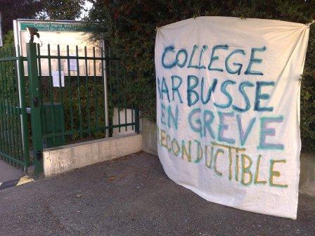 Mouvement de grève reconduit au collège Barbusse de Vaulx-en-Velin
