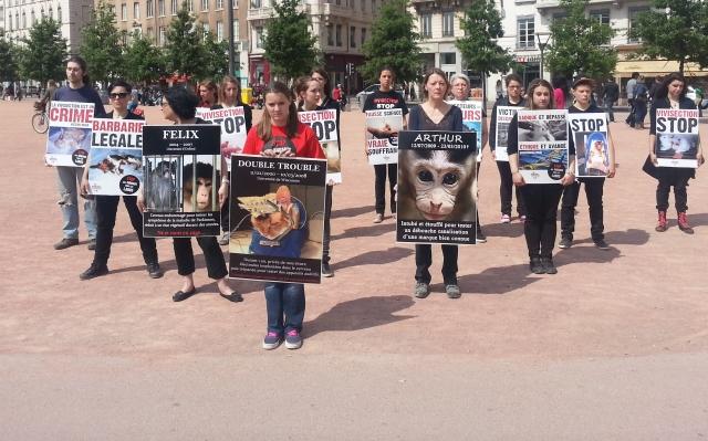 Lyon : une dizaine de manifestants pour les animaux de laboratoire