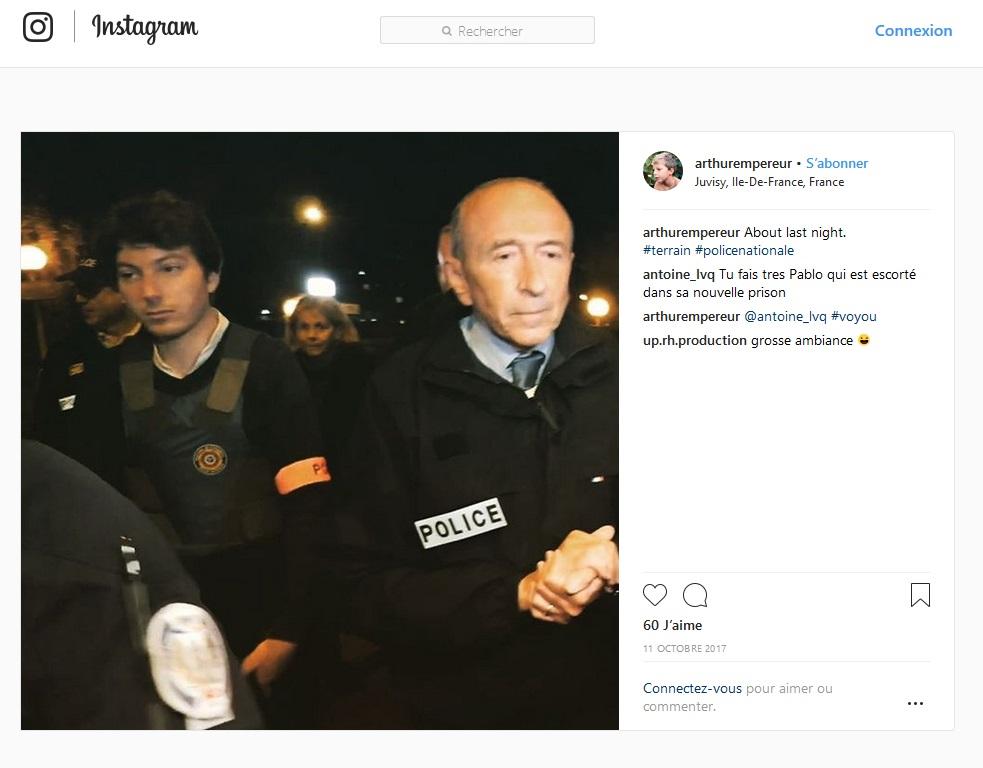 Arthur Empereur aux côtés de Gérard Collomb - Capture d'écran Instagram