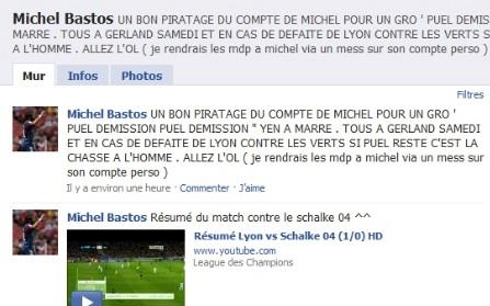 « Puel démission » : le compte Facebook de Bastos piraté !