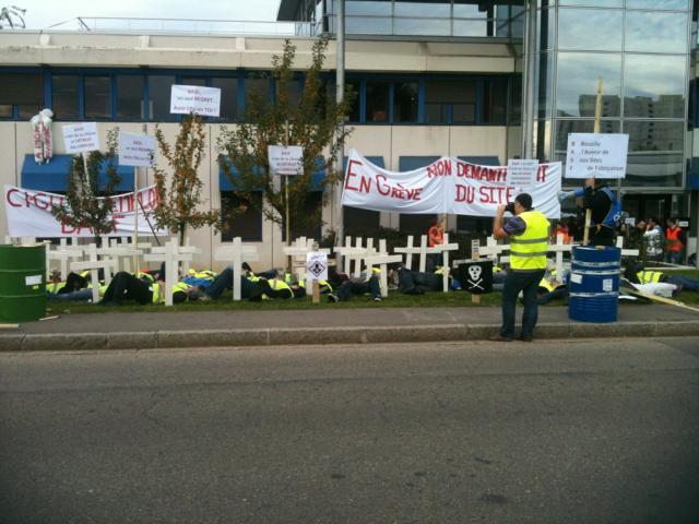 Lyon : 80 croix symboliquement plantées devant BASF