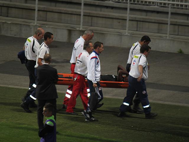 Henri Bedimo souffrait d'une déchirure musculaire aux ischios-jambiers de la cuisse gauche - Photo LyonMag