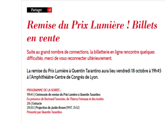 Soirée de remise du Prix Lumière 2013 : la billetterie en ligne n'a pas tenu le choc