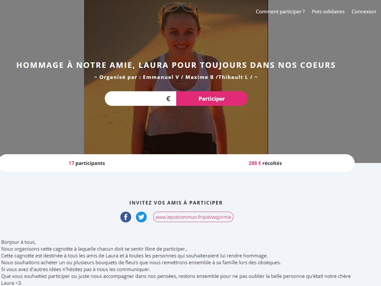 Une cagnotte en ligne pour Laura — Attentat de Marseille