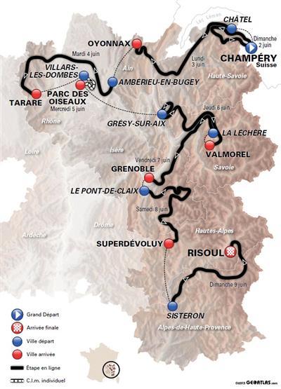 Le parcours du 65e Critérium du Dauphiné