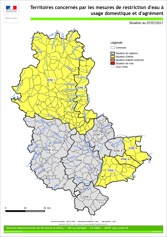 En jaune, les zones concernées par l'arrêté préfectoral - DR