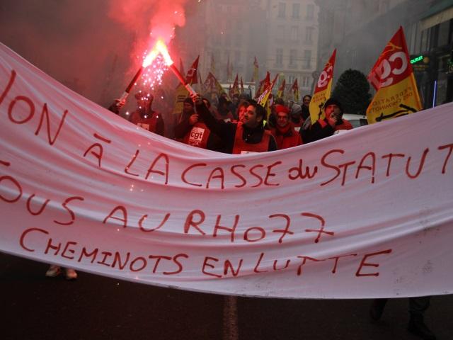 450 cheminots manifestent à Lyon contre le projet de réforme ferroviaire