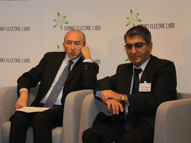Gérard Collomb et Christian Missirian (Président du Consortium Smart Electric Lyon) - LyonMag.com