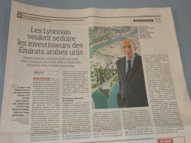 """Collomb aux Émirats : """"un élu bâtisseur qui affine ses talents"""" selon le Figaro"""