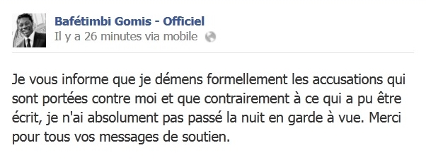 Capture d'écran Facebook - DR