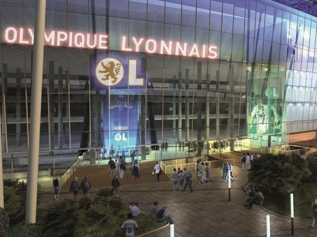 L'une des façades du Stade des Lumières à Décines - Photo Olympique Lyonnais