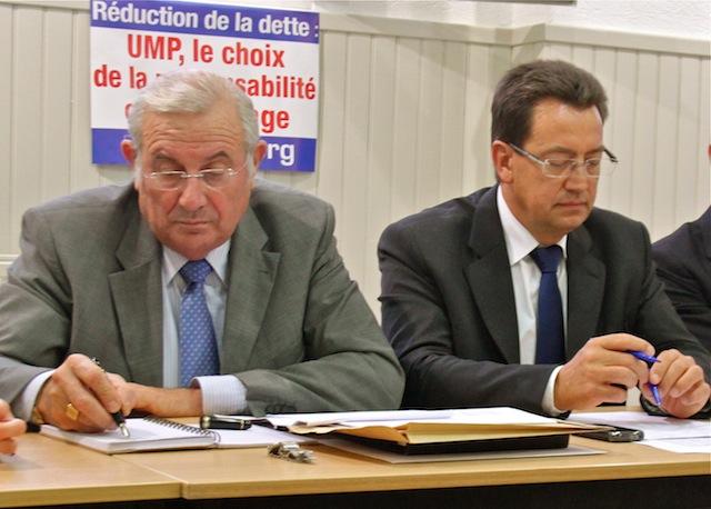 Le secrétaire départemental de la fédération UMP du Rhône Michel Forissier en compagnie du président Philippe Cochet - LyonMag