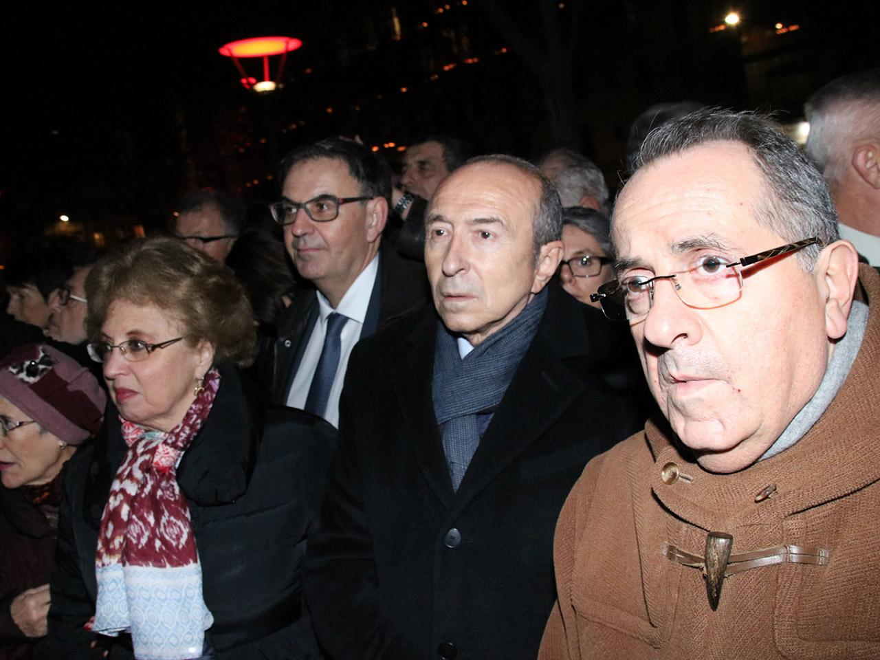 Gérard Collomb et le préfet du Rhône Michel Delpuech ont assisté à l'illumination Regards - LyonMag