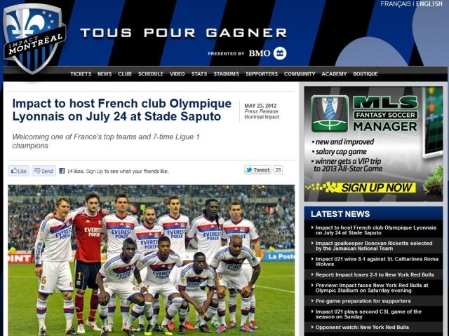 OL : Lyon en match amical à Montréal avant le Trophée des Champions