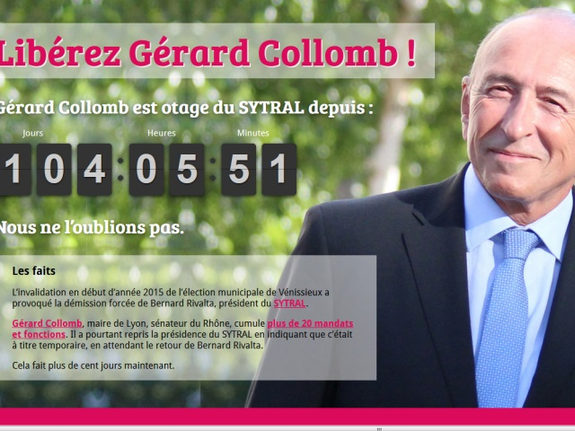 """""""Libérez Gérard Collomb"""", le site parodique sur son mandat au Sytral"""