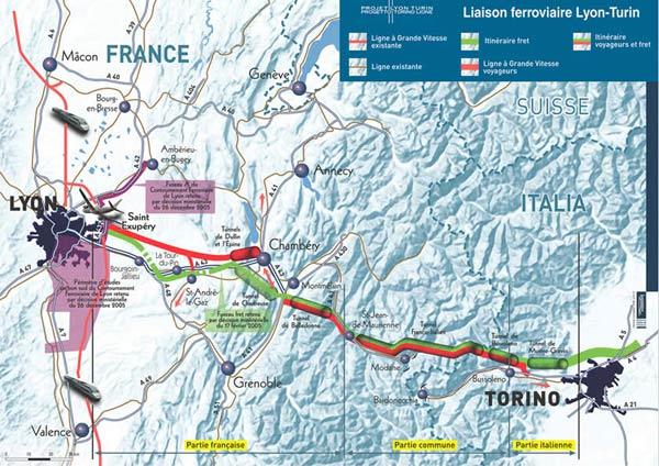 La carte du projet de ligne grande vitesse Lyon-Turin - DR