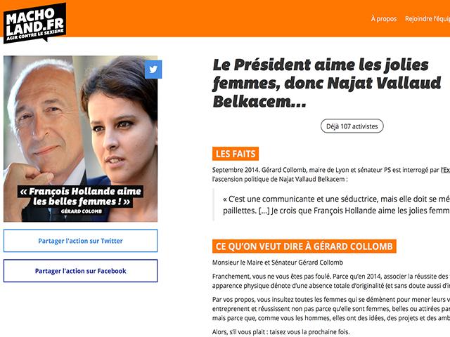Macholand : Gérard Collomb, première cible du site luttant contre les dérives sexistes !