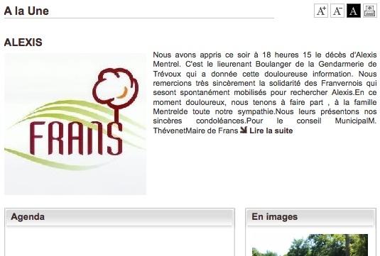 Le site Internet de la mairie de Frans annonce la mort d'Alexis Mentrel