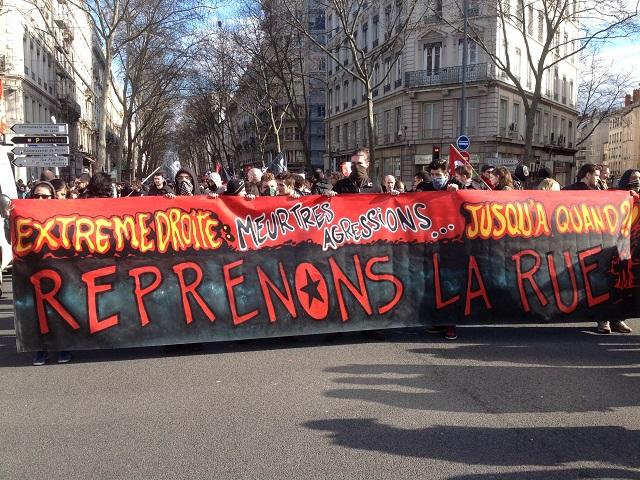 700 personnes réunies à Lyon samedi après-midi contre le fascisme et ses violences