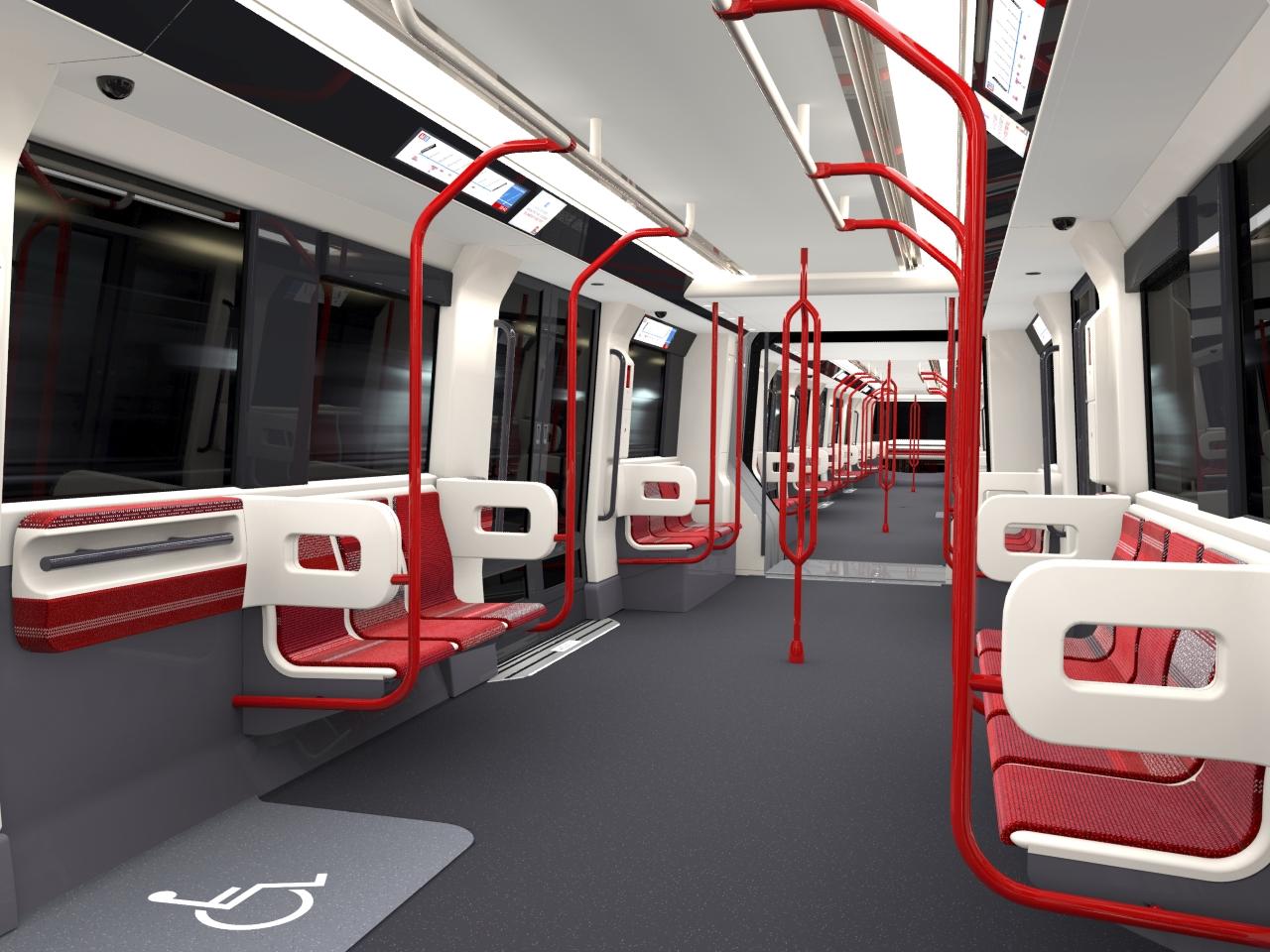 Intérieur d'une nouvelle rame du métro lyonnais - DR