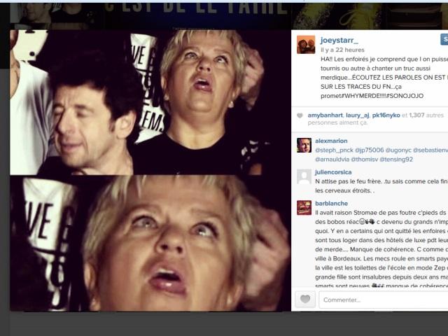 La lyonnaise Mimie Mathy attaquée par Joey Starr sur les réseaux sociaux