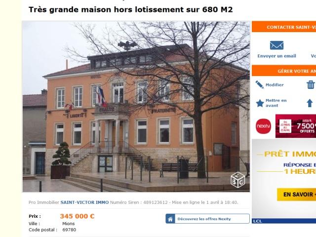 """La mairie de Mions, """"très grande maison"""", en vente sur le Bon Coin"""