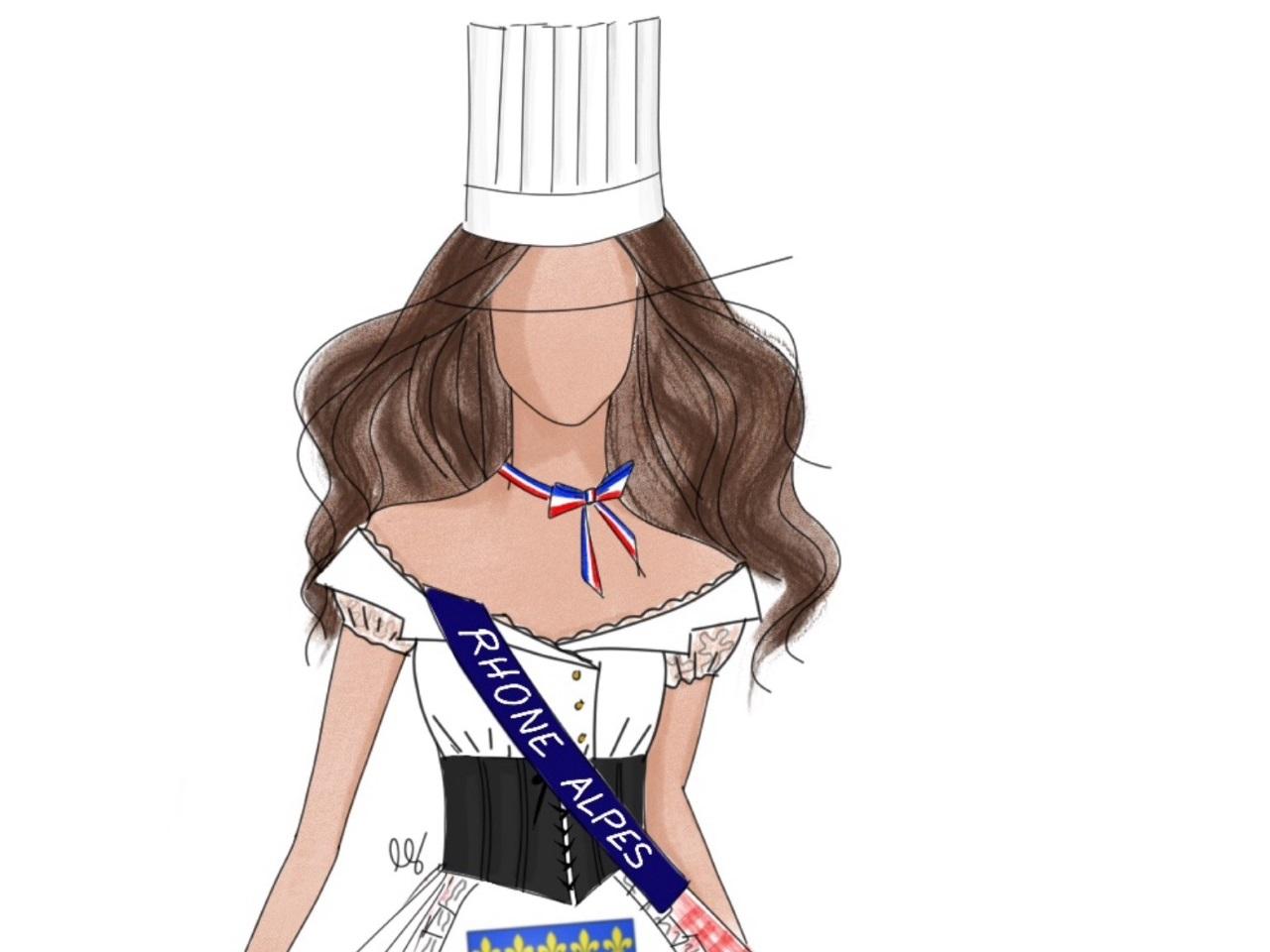 1789aa45d22 Un hommage à Paul Bocuse sur le costume régional de Miss Rhône-Alpes