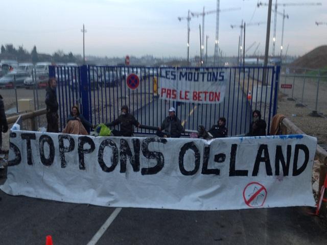 Grand Stade de l'OL : des opposants enchaînés à la grille du chantier, des grues investies
