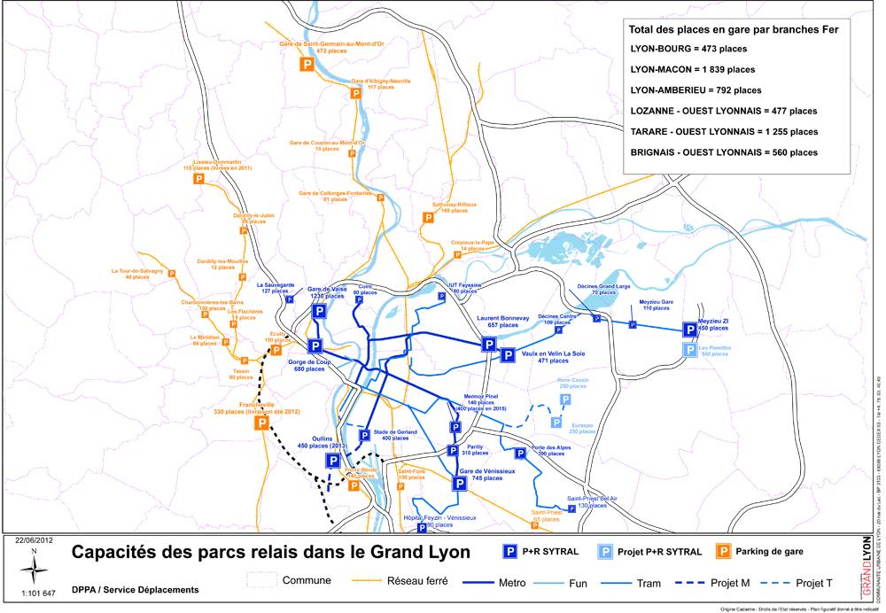 Carte des parcs relais du Grand Lyon