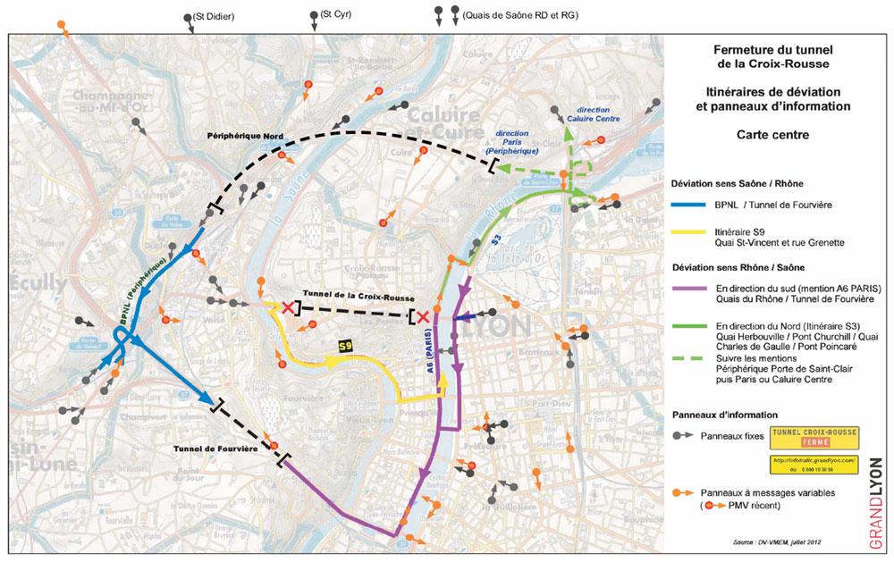 Carte des déviations du Grand Lyon