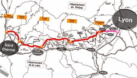 La carte de l'A45, entre Saint-Etienne et Lyon - Photo DR