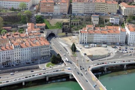 Vue aérienne de l'entrée du tunnel de la Croix-Rousse côté Rhône - DR
