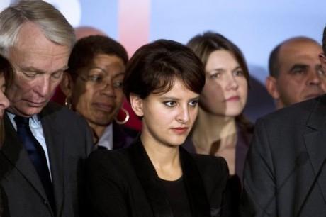 Najat Vallaud-Belkacem lors de la présentation de l'équipe de campagne de François Hollande - Photo AFP