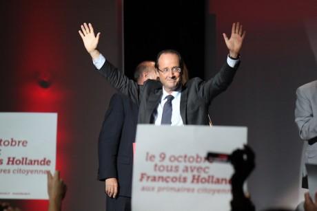 François Hollande en meeting à Villeurbanne pour l'investiture des candidats socialistes à la présidentielle, en septembre 2011 – Photo Lyonmag.com