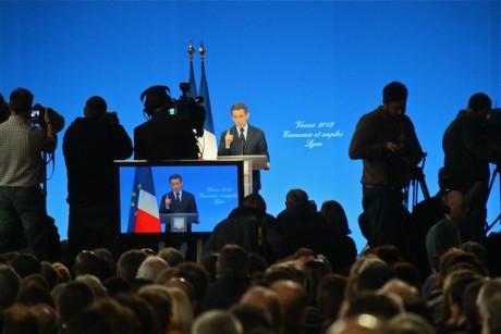 Nicolas Sarkozy lors de ses voeux au monde économique à Lyon le 19 janvier - LyonMag
