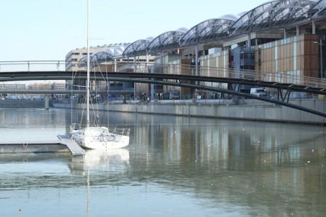 La Saône, lisse et immobile, s'est figé dans la darse nautique de la Confluence - LyonMag