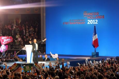 François Hollande lors de son passage le 1er mars au palais des Sports de Gerland - LyonMag