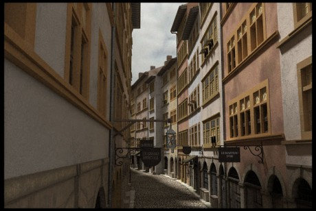 La rue Mercière en 1700 en direction des Jacobins - DR Lyon 1700