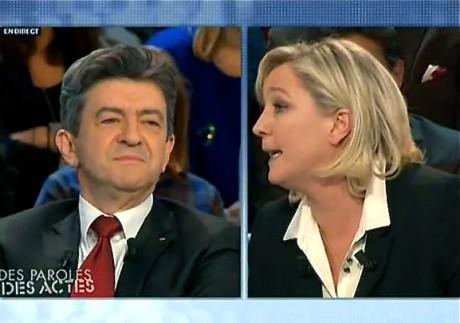 Le plateau de l'émission Des paroles et des actes avec Marine Le Pen et Jean-Luc Mélenchon jeudi soir sur France 2 - Capture d'écran - France 2