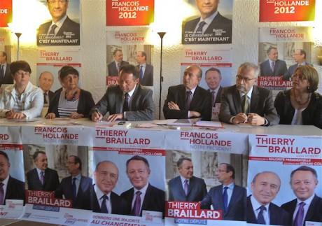 De g. à d. : Françoise Rivoire (EELV), Alexandrine Pesson (maire du 5e), Thierry Braillard, Gérard Collomb, Jean-Yves Sécheresse (pdt PS au conseil municipal), Zora Aït Maten (élue Lyon7e)