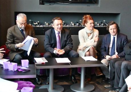 Thierry Braillard entouré de trois de ses directeurs de campagne : Jean-Yves Sécheresse (à g.), Sandrine Frih et Thomas Rudigoz - LyonMag