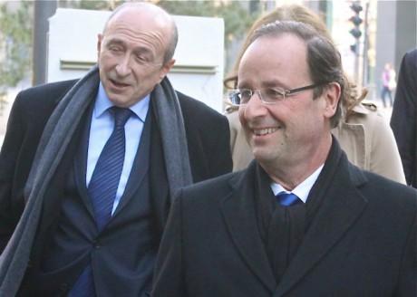 Gérard Collomb et François Hollande le 1er mars, lors du meeting lyonnais du Corrézien - LyonMag